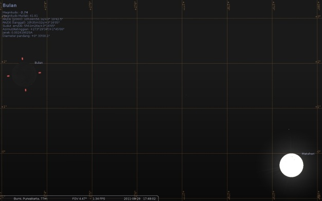 Posisi bulan pada saat maghrib tanggal 29 Agustus 2011